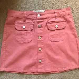 Pink button down skirt from Altard State